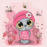 Kitten on a meadow with flowers and butterflies. Cute Cartoon Kitten girl on a meadow with flowers and butterflies royalty free illustration