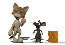 Kitten and mouse 3D cartoon animals Stock Image