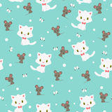 Kitten and mouse seamless pattern Royalty Free Stock Images