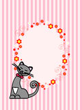 Kitten oval card. Pink greeting card with happy cat and floral ornament Royalty Free Stock Image