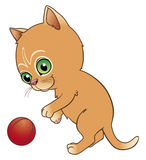 Kitten playing. With a ball Vector Illustration
