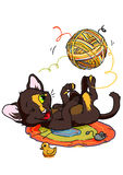 Kitten playing with ball of yarn. Illustration,color,drawing,isolated on a white Stock Photos