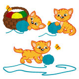 Kitten playing with balls of yarn Royalty Free Stock Photography