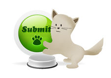 Kitten pressing submit button Royalty Free Stock Photography