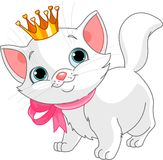 Kitten princess. Adorable white kitten with golden crown Royalty Free Stock Photography