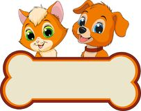 Kitten and puppy friends Stock Image