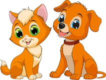 Kitten and puppy friendsn Royalty Free Stock Photo