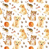 Kitten, puppy and mouse seamless pattern Royalty Free Stock Photos