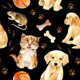 Kitten, puppy and mouse seamless pattern Royalty Free Stock Images