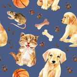 Kitten, puppy and mouse seamless pattern Royalty Free Stock Photography