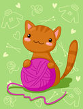 Kitten with purple clew Stock Photography