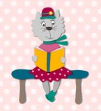 The kitten reads the book. Cartoon character. Colorful graphic illustration over pink background Stock Photo