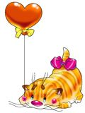 Kitten in a red balloon. The cheerful striped kitten in a red balloon in the form of heart congratulates all in love with a holiday