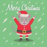 Kitten Santa Claus Christmas Cartoon Character Illustration bonito Fotos de Stock