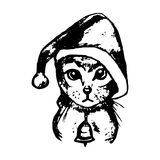 Kitten Santa Claus hat (abstraction). The graphic image of the cat in the Santa hat. Vector illustration on a white background. Figure handle by hand, black Royalty Free Stock Images