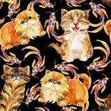 Kitten seamless pattern. Royalty Free Stock Photo