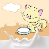 Kitten sitting in a bowl with milk  - vector Royalty Free Stock Photography
