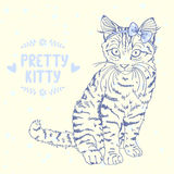 Kitten sketch with a bow Royalty Free Stock Images