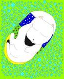 Kitten Sleeping Among The Blue-Bloemen Royalty-vrije Stock Fotografie