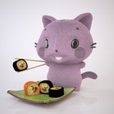 Kitten and Sushi Stock Photos