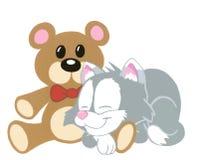 Kitten and Teddy Bear. Hand drawn and painted(computer color enhanced)cartoon of a sleeping kitten with a teddy bear Stock Photos