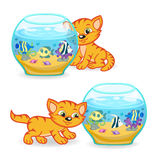 Kitten walking around an aquarium with fishes. Vector illustration, eps Stock Photography