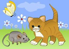 Kitten watching mouse on the green blooming meadow. Yellow butterfly flying over white flowers. Cheerful spring illustration with Royalty Free Stock Photo