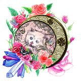 Kitten with watercolor roses. Cute kitten with blue eyes portrait decorated with watercolor roses illustration royalty free stock photography