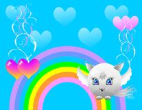 Kitten with wings against with hearts Stock Photo