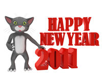 Kitten wishes you happy new year Stock Photography