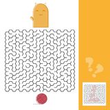 Kitten And Wool Ball Maze Game with Solution Vector illustration. Kitten And Wool Ball Maze Game for kids with Solution Vector illustration Royalty Free Stock Images
