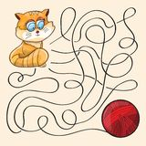 Kitten And Wool Ball. Maze Game - vector royalty free illustration