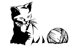 Kitten and Yarn Illustration. Black and white vector illustration of a kitten looking at a ball of yarn. If you can, please leave a comment about what you are Royalty Free Illustration