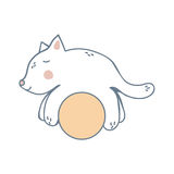 Kitten on the Yellow Ball Royalty Free Stock Photography