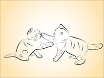 Kittens. Illustration of two playing kittens Stock Photos