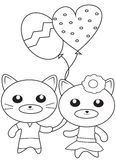 Kittens with balloons coloring page Stock Image