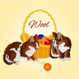 Kittens and a basket with balls of wool vector Royalty Free Stock Photos
