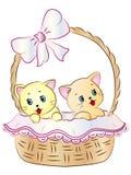 Kittens in Basket. Vector Illustration of cute Kittens in a Basket Stock Image