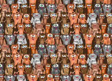 Kittens and cats seamless pattern. Vector endless background design. Funny cartoon pets. Royalty Free Stock Image