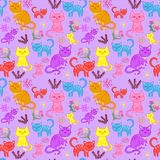 Kittens, cats set, pattern seamless. Kittens, a set of cats, and various items on a purple background stock illustration