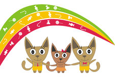 Kittens are children under the rainbow Royalty Free Stock Images