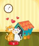 Kittens in love royalty free illustration
