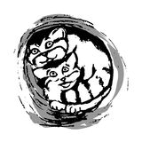 The kittens of the Pallas cat in the pipe, the hollow. Royalty Free Stock Photos