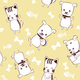 Kittens and puppies. Seamless  pattern for kids Royalty Free Stock Image