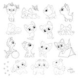 kittens puppies coloring book line black white cats dogs stock illustration