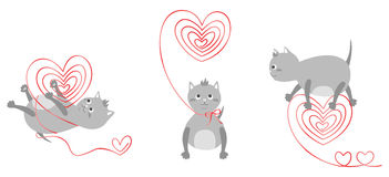 Kittens with red hearts Stock Photography