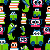 Kittens school theme seamless pattern Stock Image
