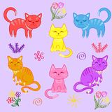 Kittens, a set of cats stock illustration