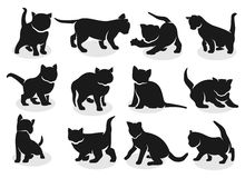 Kittens silhouettes vector Royalty Free Stock Photos