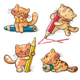 Kittens. Vector set - amusing cartoon kittens  with pencils Royalty Free Stock Images